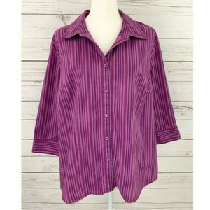 Covington Top Striped Button Down Plus 16W / 18W